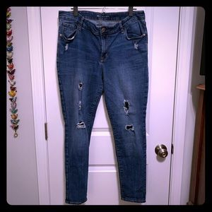 Old Navy distressed Rockstar jeans, size 16